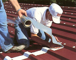Metal roofing seam treatment